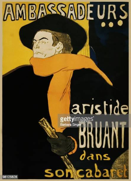 Vintage poster of French cabaret singer Aristide Bruant