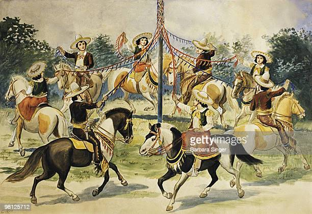Vintage poster of horse riders wrapping ribbons around maypole