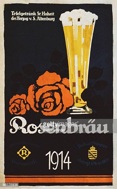 Vintage poster of tall glass of beer and rose