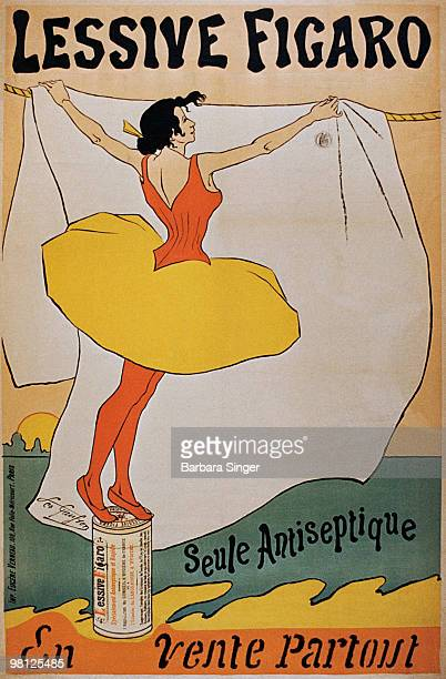 Vintage poster of woman hanging laundry out to dry