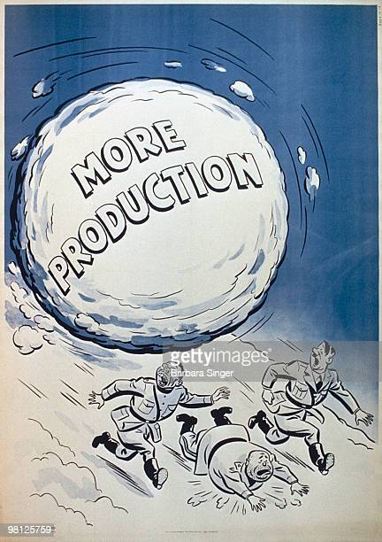Vintage poster of World War II leaders running away from snowball