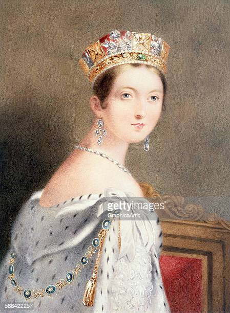 Vintage print of Queen Victoria wearing the George IV State Diadem after her coronation in 1838 at the age of 18 colored etching 1838