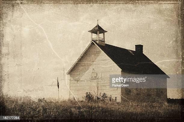 Vintage Processed One Room Schoolhouse