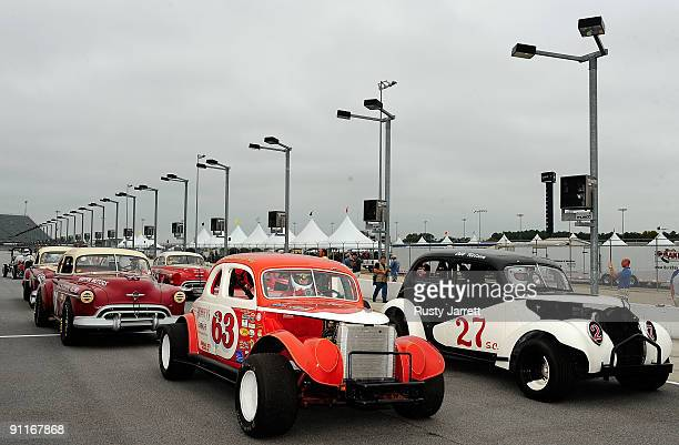 Vintage race cars are staged on pit road during the Darlington Historic Racing Festival on September 26 2009 at Darlington Raceway in Darlington...