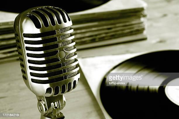 Microphone avec Radio Vintage vinyle Records