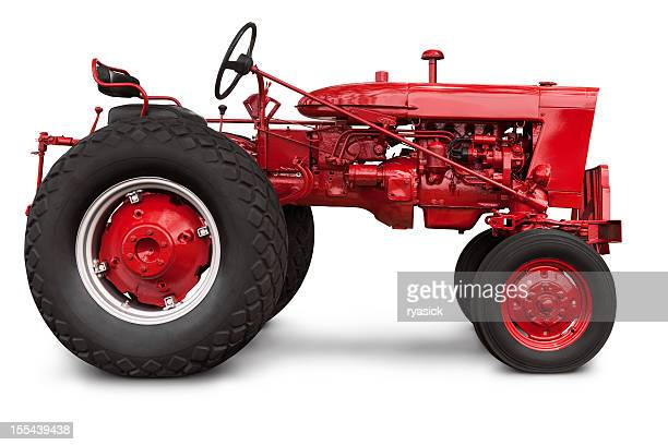 vintage red farm tractor in profile with clipping path isolated - tractor stock pictures, royalty-free photos & images