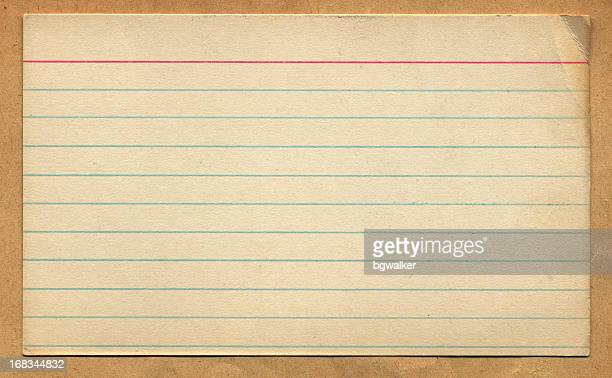 vintage retro index card design element - lined paper stock pictures, royalty-free photos & images