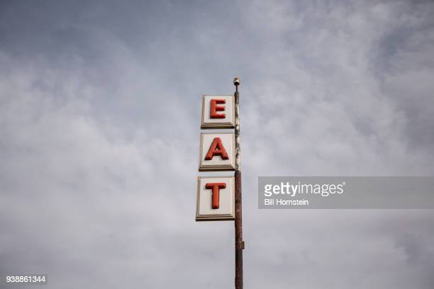 vintage road sign - vintage restaurant stock pictures, royalty-free photos & images