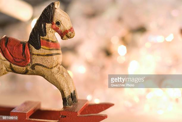 vintage rocking horse - holidays series - christmas horse stock pictures, royalty-free photos & images