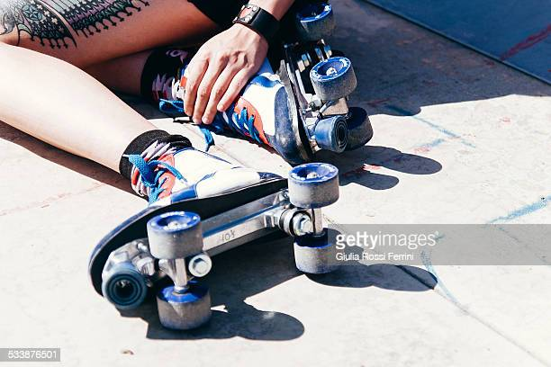 vintage roller blade - roller rink stock photos and pictures