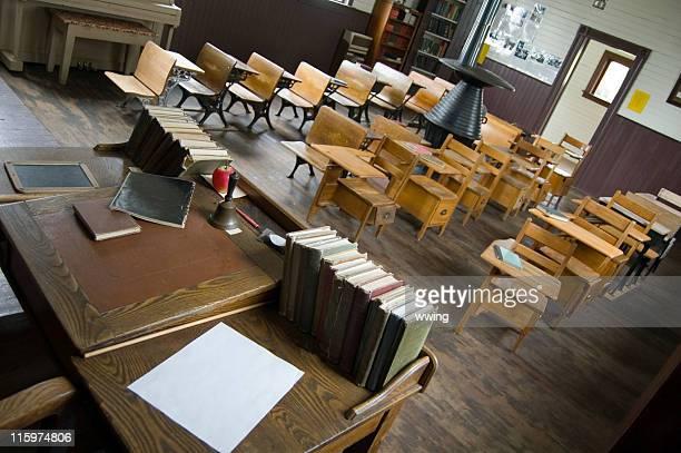 Vintage School Classroom-teacher and student desks