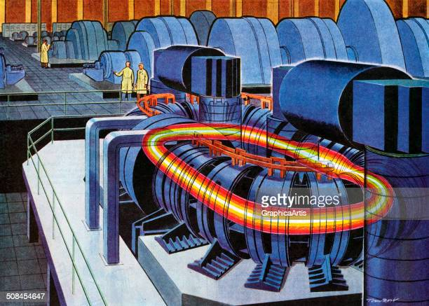 Vintage scientific illustration of a proposed nuclear fusion reactor. Screen print by Tom Rost, 1958.