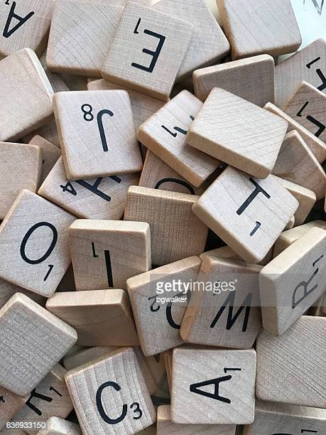 Vintage Scrabble Letters in a Pile