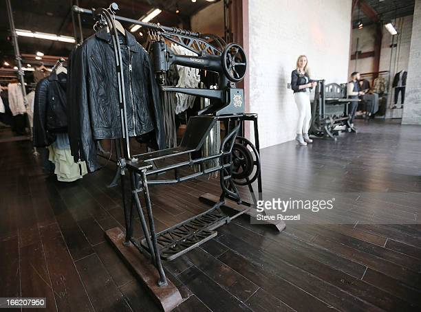 Vintage sewing machines in display as the UK fashion retailer AllSaints open a boutique at the Yorkdale Shopping Centre in Toronto