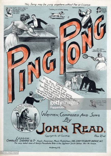 """Vintage sheet music cover for """"Ping Pong"""", written and composed by John Read, and featuring various comedic ping pong vignettes and the lyrics,..."""
