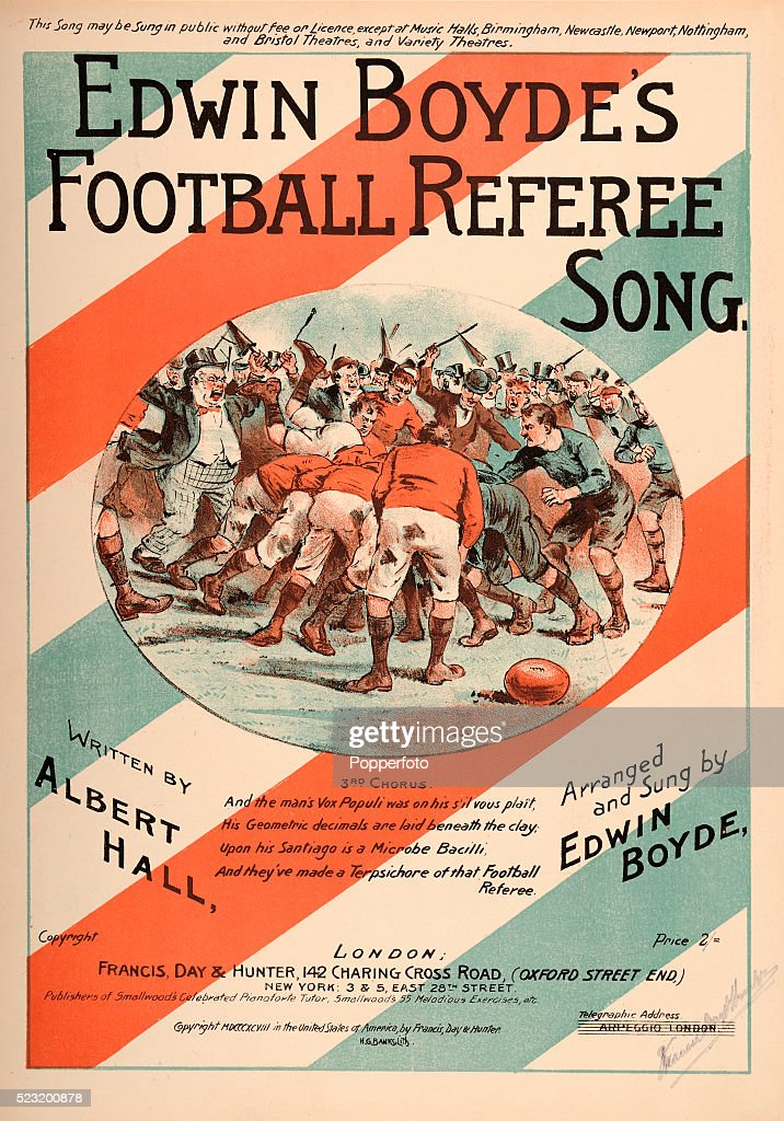 A vintage sheet music cover for the Football Referee Song by