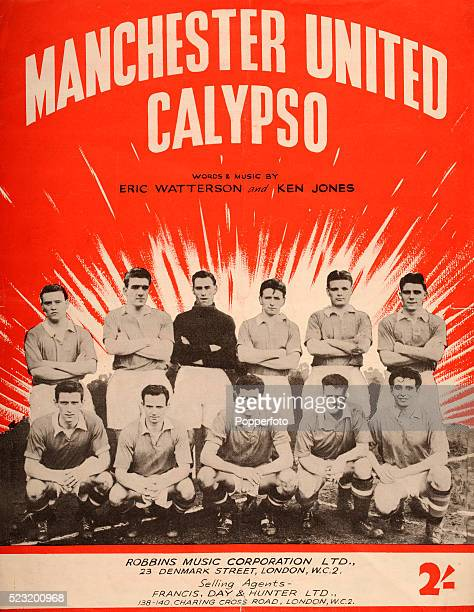 Vintage sheet music cover for the Manchester United Calypso written by Eric Watterson and Ken Jones, published by the Robbins Music Corporation in...