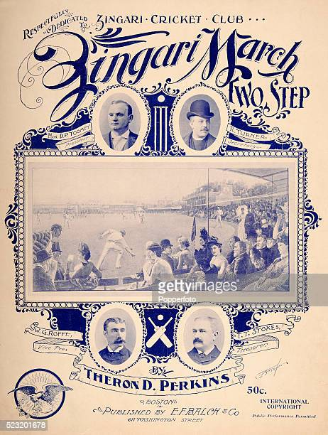 A vintage sheet music cover for the Zingari March with an illustration featuring a cricket Test match at Lord's from the painting by GH Barrable and...