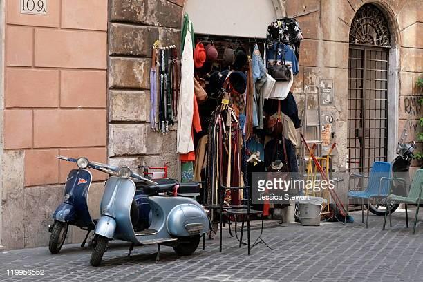 Vintage shop located on via del Governo Vecchio in Rome, Italy.