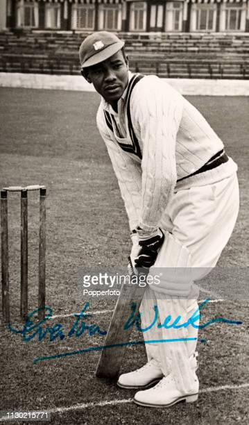 Vintage signed postcard featuring West Indes cricketer Everton Weekes circa 1960
