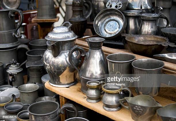 Vintage silverware at market stall