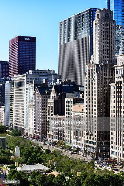 Vintage Wolkenkratzern auf der Michigan Avenue und die Innenstadt von Chicago