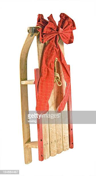 Vintage Sled and Red Bow