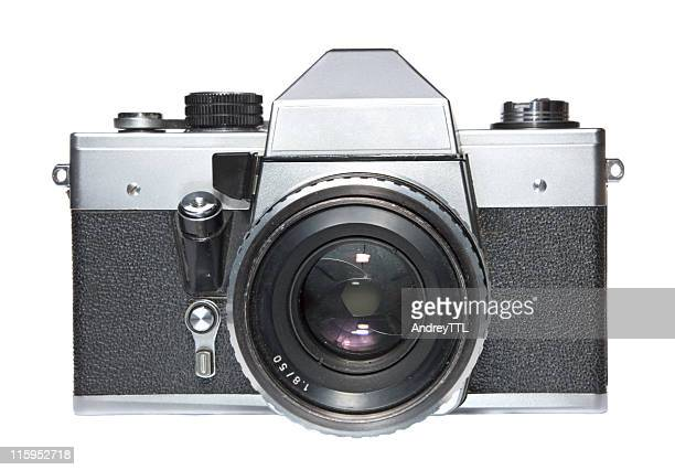 vintage slr film camera isolated on white - photography themes stock pictures, royalty-free photos & images
