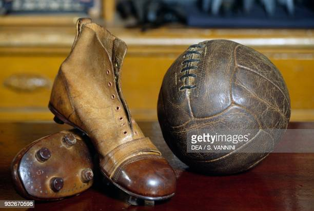 Vintage soccer boots and ball, Beamish Open Air Museum, County Durham, England, United Kingdom.
