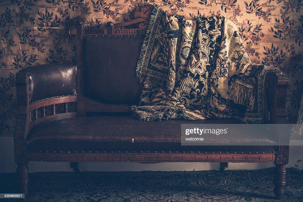 Vintage Sofa and Vintage Blanket : Stock Photo