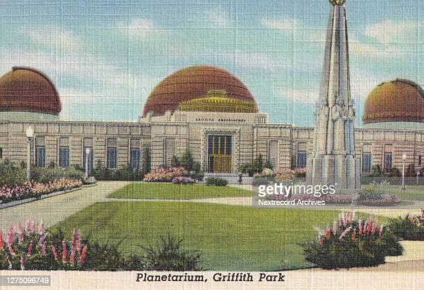 Vintage souvenir linen postcard published ca 1938 from series depicting Hollywood landmarks and movie star homes here an exterior view of the...
