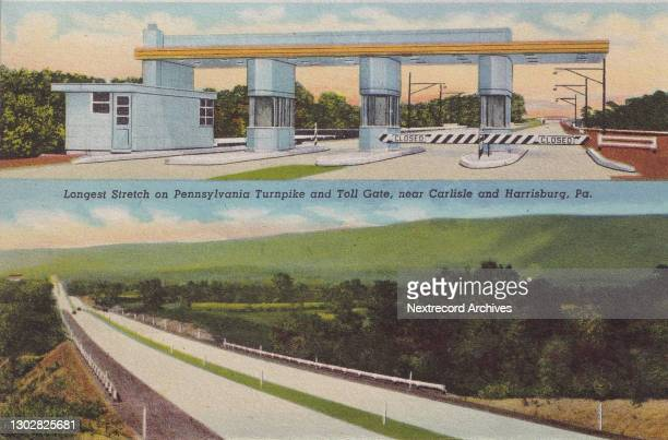 Vintage souvenir linen postcard published circa 1943 in the series, 'Interesting Scenes from the Pennsylvania Turnpike,' depicting the tollbooth and...