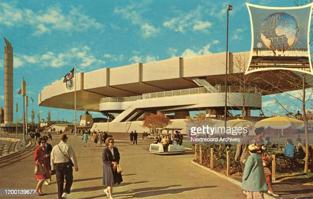 Vintage souvenir photo postcard of the 1964 World's Fair Flushing Meadows Corona Park Queens New York City The Bell Telephone Pavilion with...
