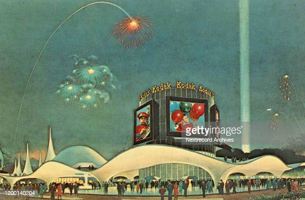 Vintage souvenir photo postcard of the 1964 World's Fair Flushing Meadows Corona Park Queens New York City The Kodak Pavilion marketing the camera...
