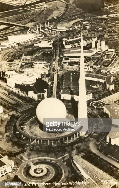 Vintage souvenir photo postcard published 1939 by Underwood and Underwood depicts an aerial view of the 1939 World's Fair, Flushing Meadows Corona...