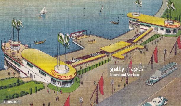 Vintage souvenir photo postcard published in 1934 depicting the Century of Progress International Exposition or the Chicago World's Fair with a...