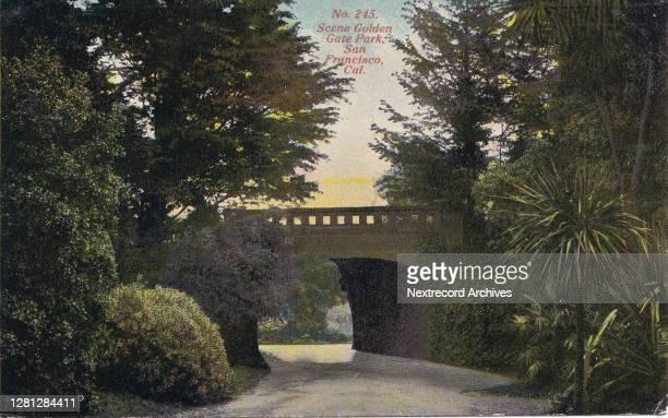Vintage souvenir postcard published ca 1918 depicting a bridge and pedestrian path in Golden Gate Park, San Francisco, California .