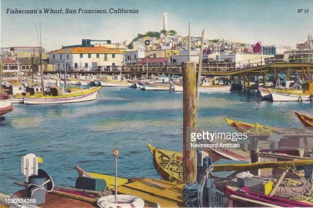 Vintage souvenir postcard published circa 1935 depicting the historic Fisherman's Wharf, still a popular destination in San Francisco, California .