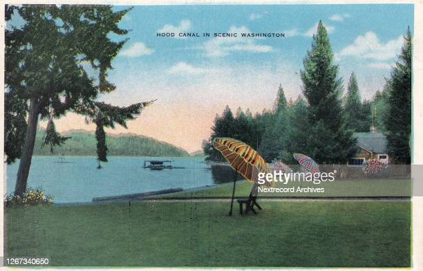 Vintage souvenir postcard published circa 1942 depicting the Hood Canal a natural rather than manmade canal defined as a North American fjord in...