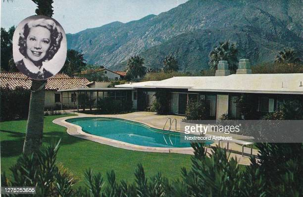 Vintage souvenir postcard published in 1956 from series depicting Hollywood movie star homes, mansions and grand Los Angeles estates, here a portrait...