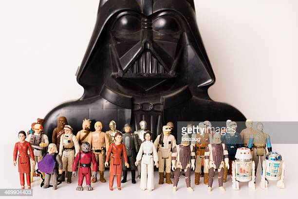 vintage star wars toys and darth vader storage case - star wars stock pictures, royalty-free photos & images