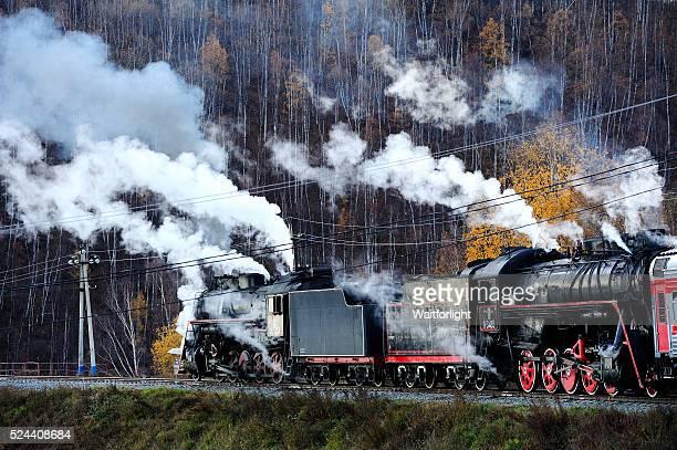 Vintage steam train in station beside of Lake Baikal