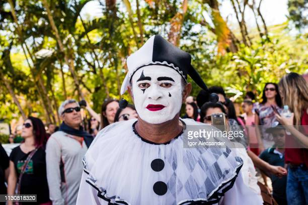 vintage street carnival in brazil - harlequin stock photos and pictures