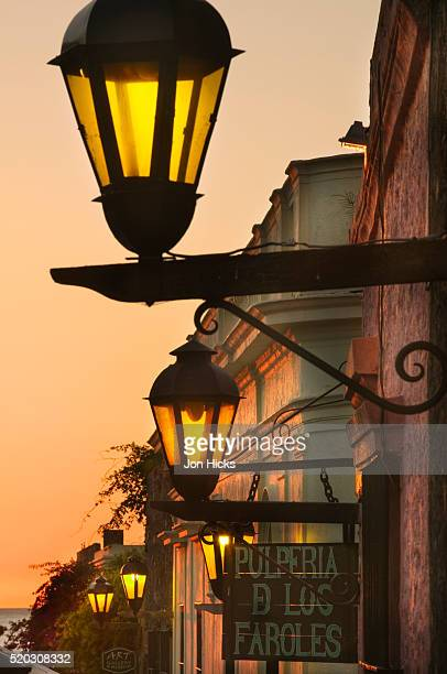 vintage street lights in barrio historico - uruguay stock pictures, royalty-free photos & images