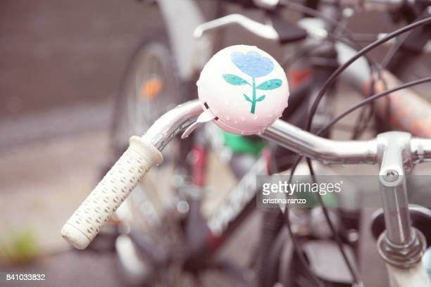 vintage style bicycle bell - handlebar stock photos and pictures