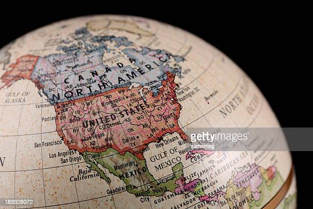 vintage style globe showing north america - north america stock pictures, royalty-free photos & images
