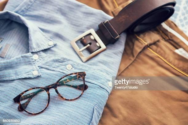 Vintage style Men's casual, Blue shirt, brown short pants, brown belt and eyeglass