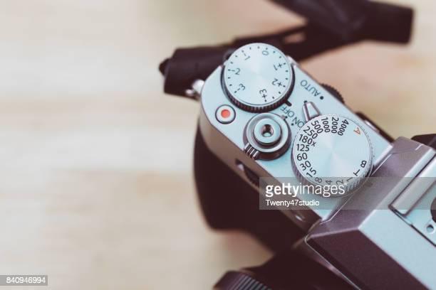 Vintage style mirrorless dslr camera top panel