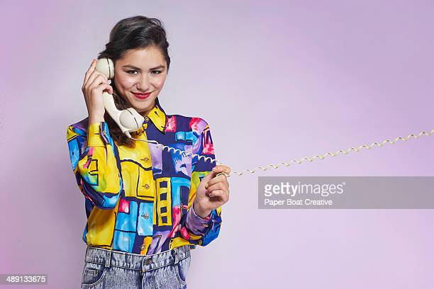 Vintage Style Photo of a lady speaking on the phon