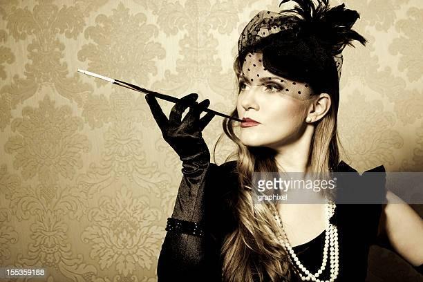 Vintage style smoking women